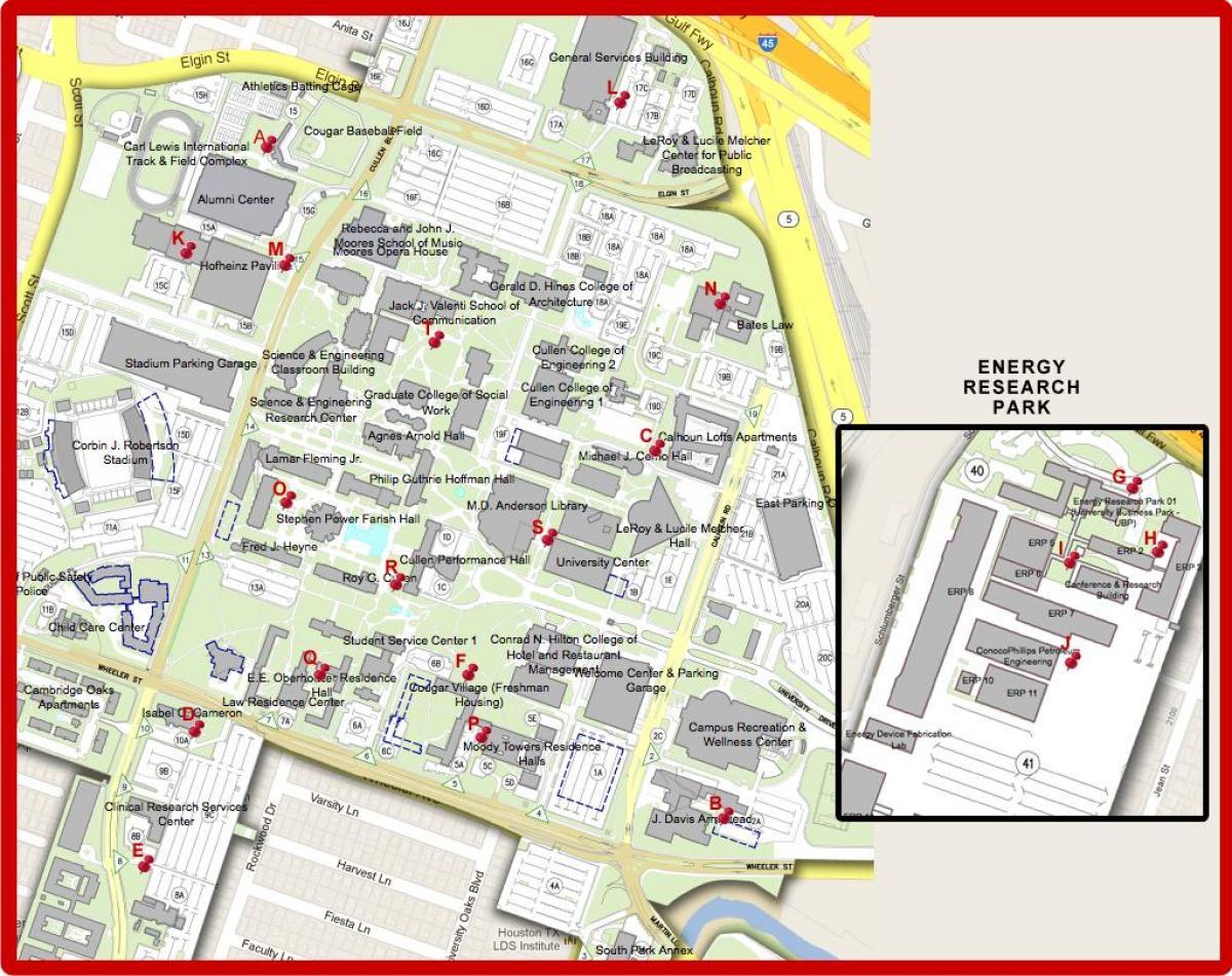 UH campus mapa Mapa ng university of Houston Texas USA